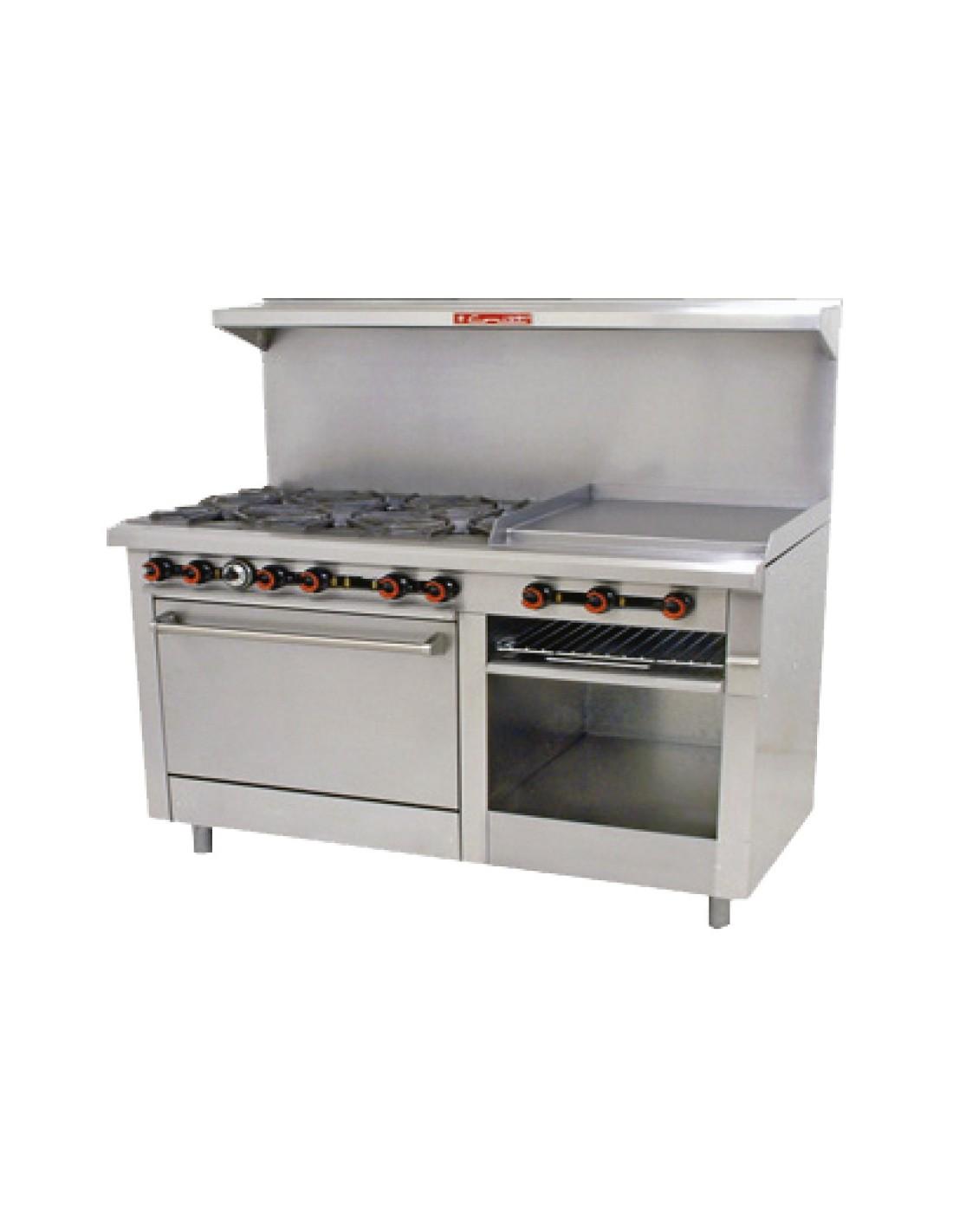 utensilios cocina industrial coriat estufa comercial de gas con horno 6 quemadores