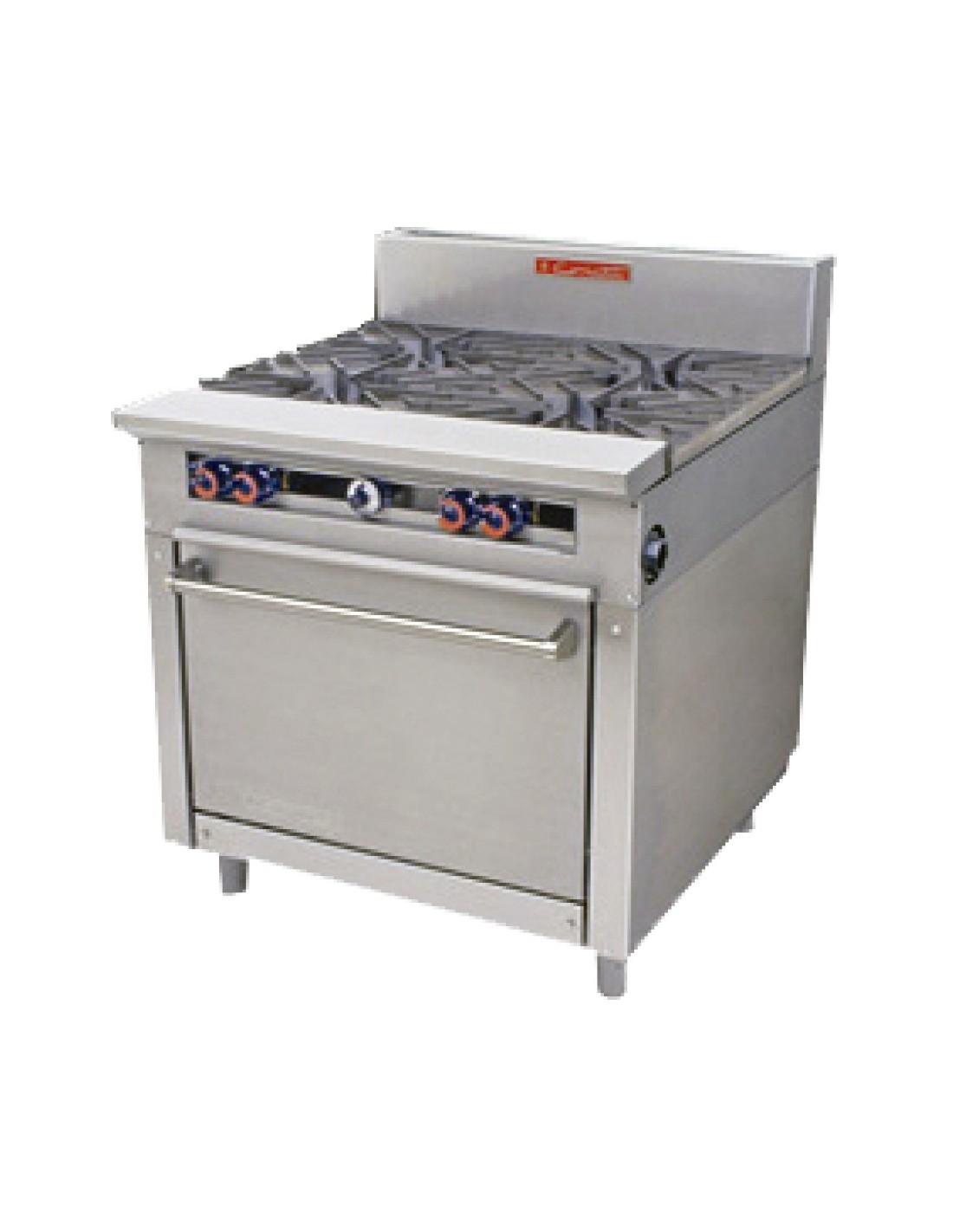 Coriat estufa comercial de gas con horno y plancha 6 for Cocina 6 quemadores
