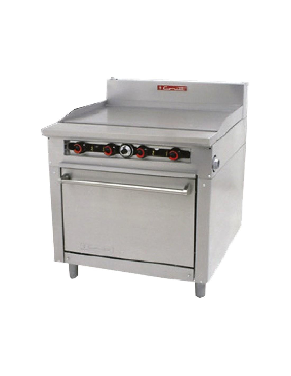Coriat estufa pesada de gas con horno y plancha 5 quemadores for Estufa industrial con horno