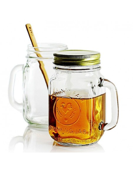 97085 MASON JAR DRINKING JAR DECORADO CON ASA